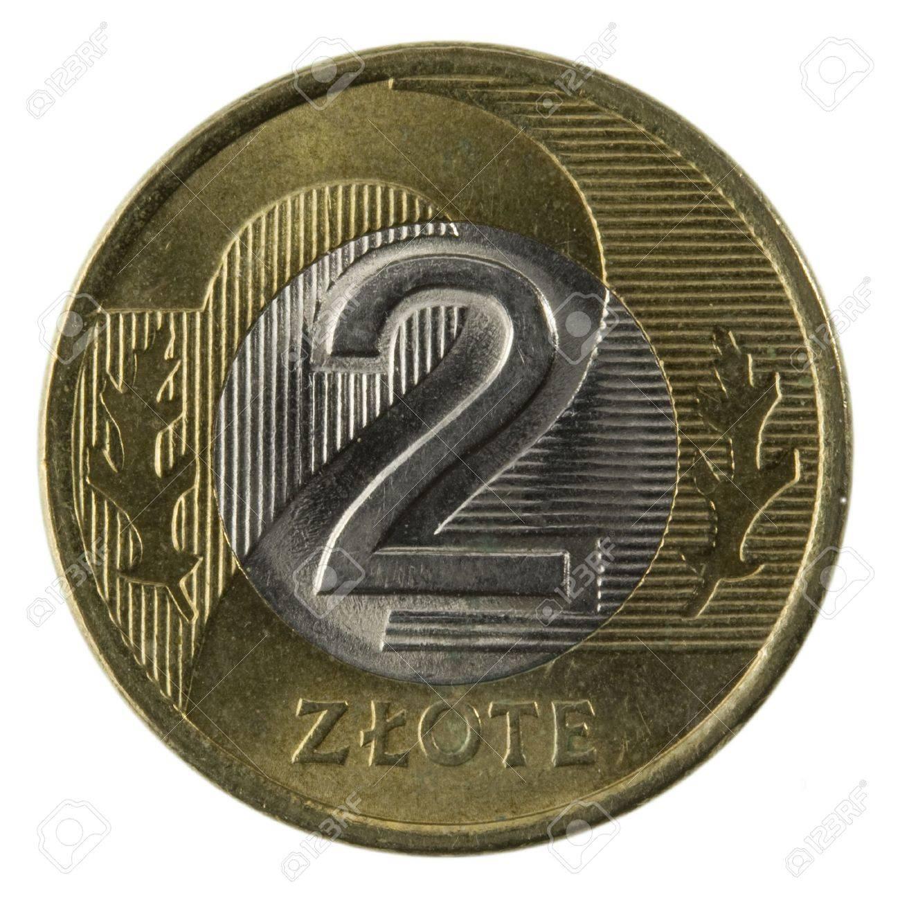 Makro 2 Des Polnischen Zloty Münze Isoliert Auf Weißem Lizenzfreie