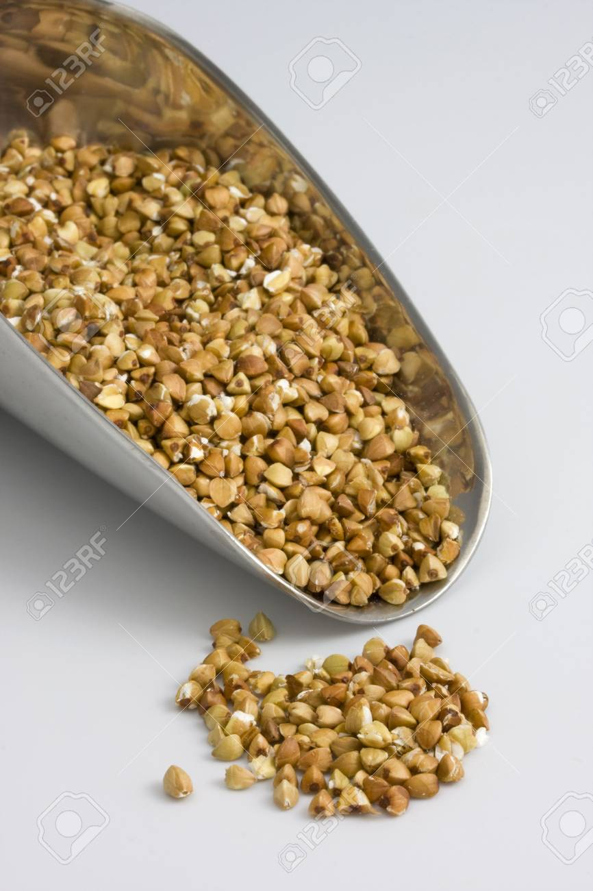 a scoop of buckwheat (kasha), toasted whole grain Stock Photo - 2425699