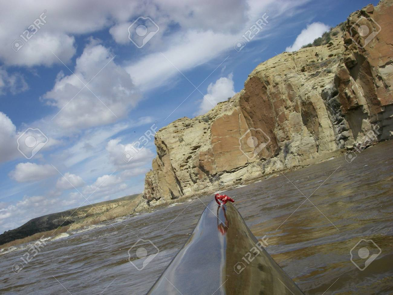 view from a bow of racing kayak on the North Platte River in Wyoming Stock Photo - 3098906