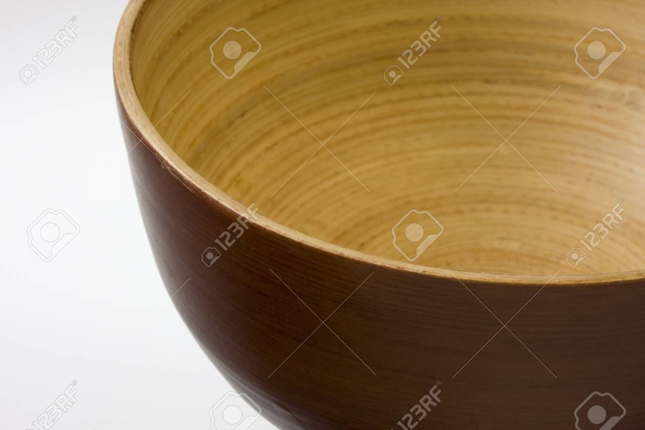 empty, round, wooden bowl with white copy space Stock Photo - 3169835