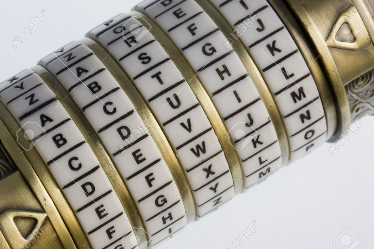 devil a password set on a combination puzzle box or lock with rings of letters