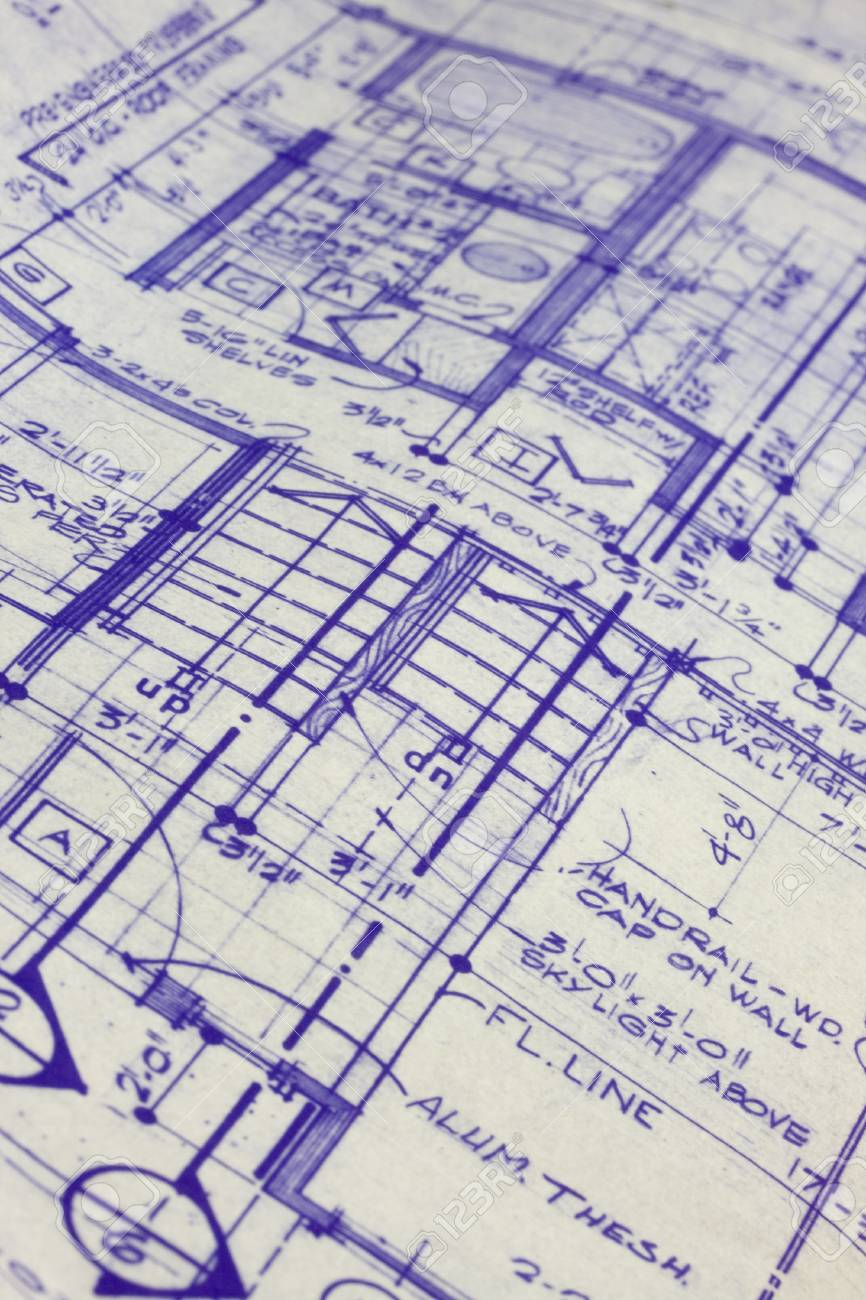 detail of 40 years old house blueprint, selective focus Stock Photo - 4067754