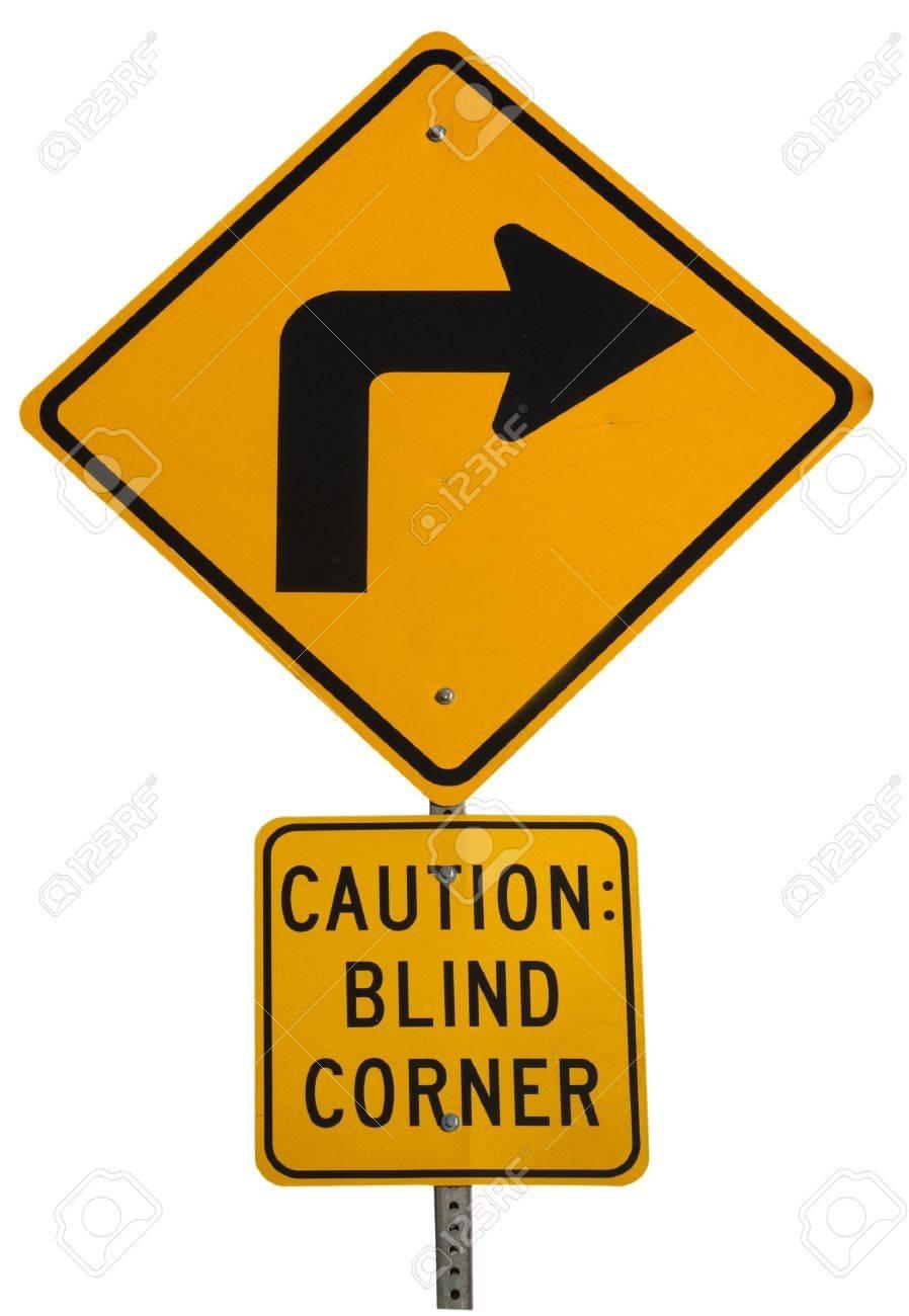 Yellow blind corner turning warning sign on a biking trail isolated on white Stock Photo - 4353721