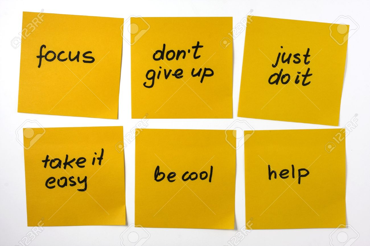 Motivational Phrases Six Yellow Sticky Notes With Reminders And Motivational Phrases