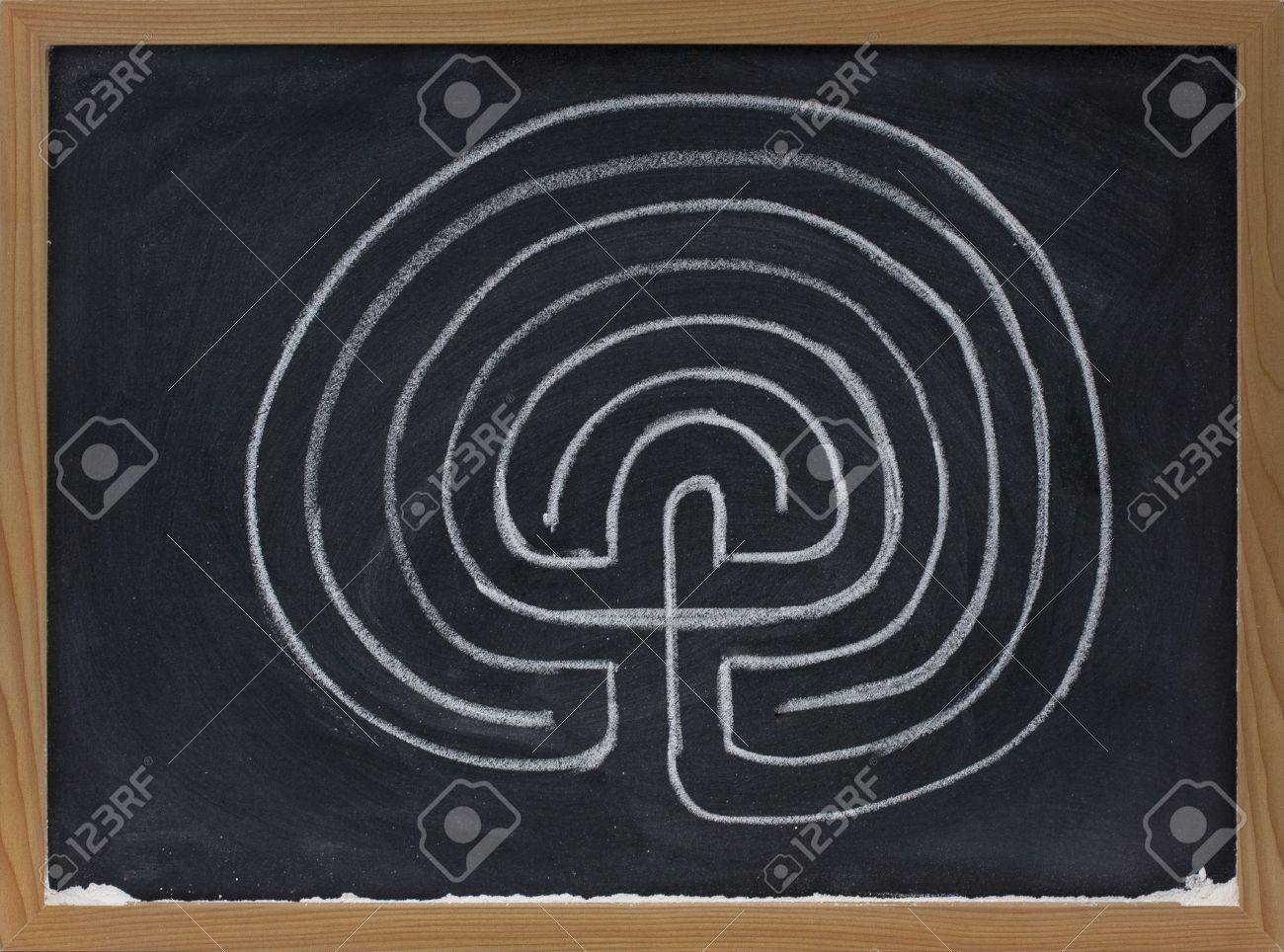 a classical seven ring labyrinth with dead end in the centre sketched with white chalk on blackboard Stock Photo - 4866269