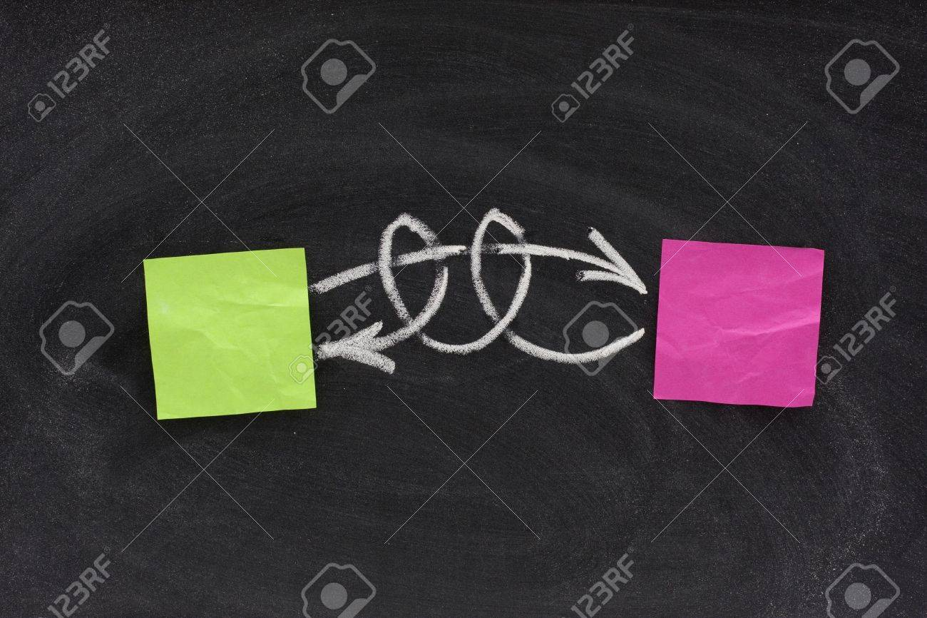 concept of complicated relationship, interaction or feedback, presented on blackboard with two blank sticky notes and white chalk Stock Photo - 4982234