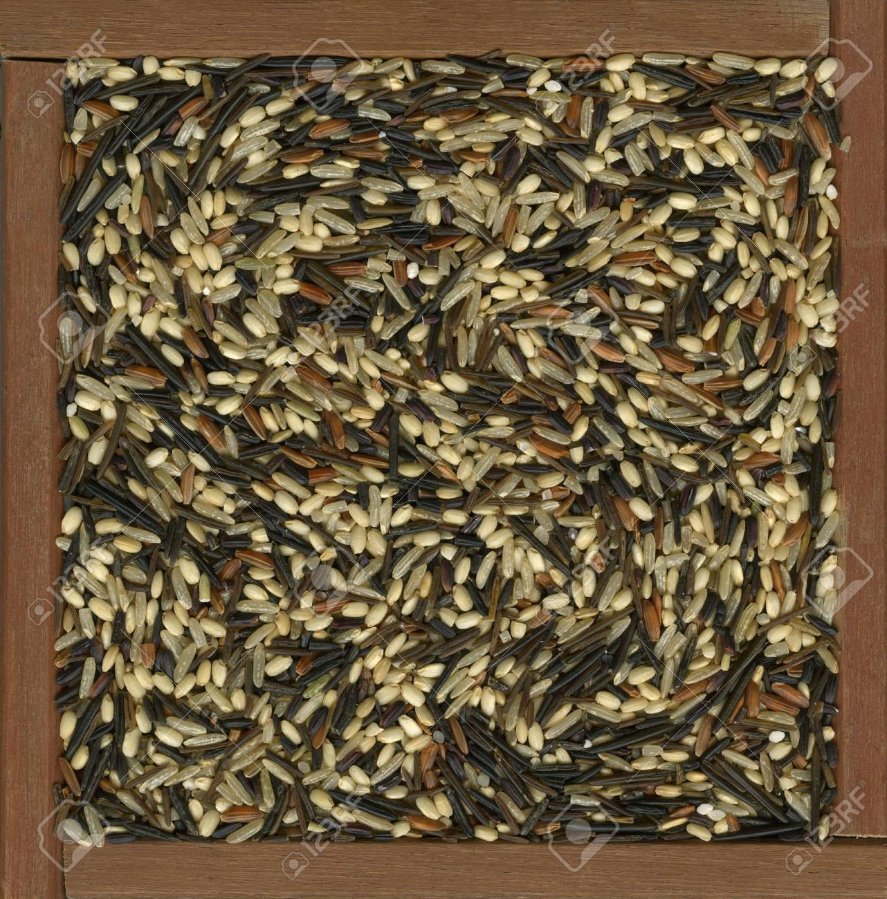 colorful blend of several varieties of whole grain brown and wild rice in a rustic, wooden box Stock Photo - 5058447