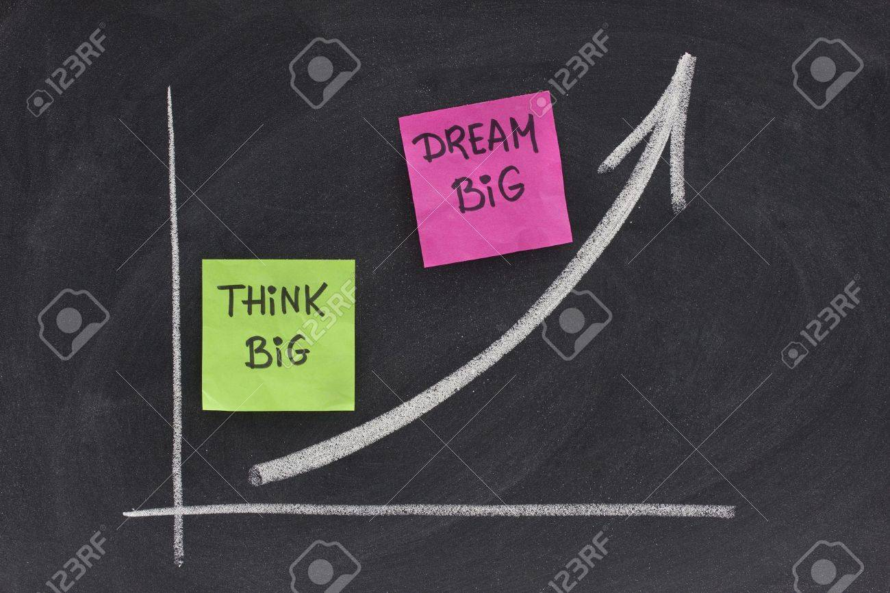 think big, dream big slogan concept presented with growing graph on blackboard, eraser smudges Stock Photo - 5260236
