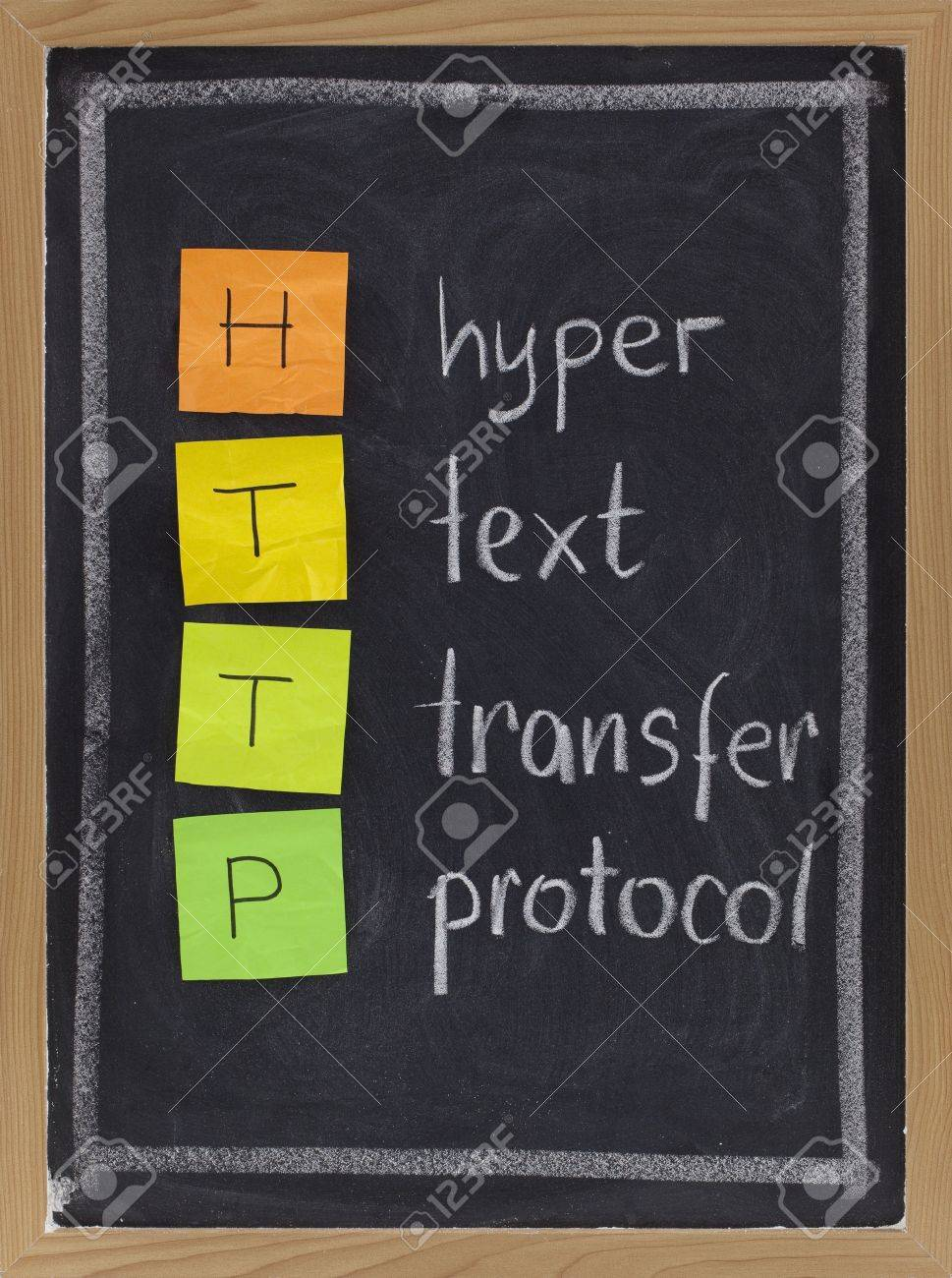 http (hyper text transfer protocol) acronym explained on blackboard, color sticky notes and white chalk handwriting Stock Photo - 5908268