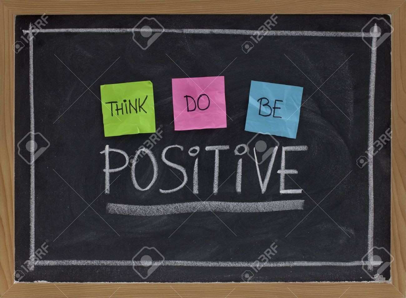 think, do, be positive - positivity concept, color sticky notes, white chalk drawing and handwriting on blackboard Stock Photo - 5908271