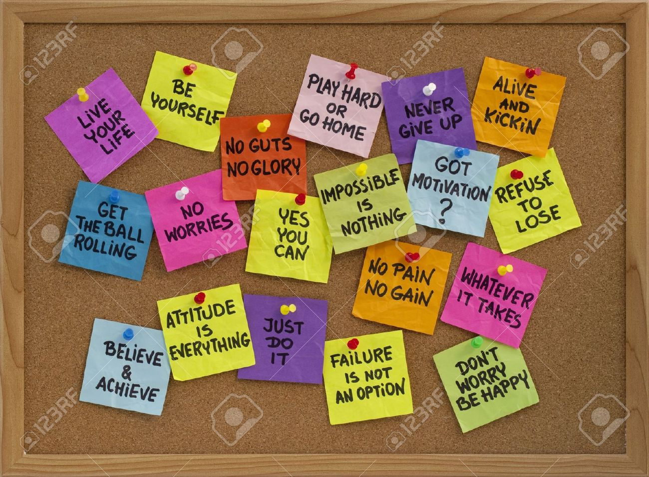 Motivational Slogans Motivational Slogans And Phrases  Colorful Reminder Notes With