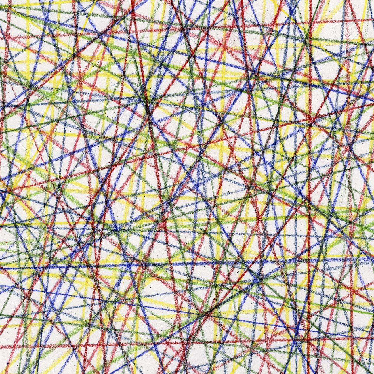 random color lines abstract - pastel crayons on white paper board Stock Photo - 6659794