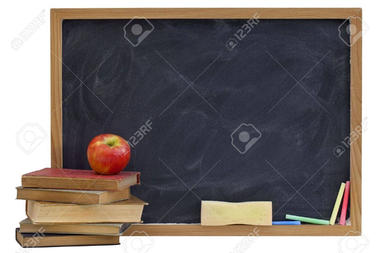 education concept - blank blackboard with white chalk texture, red apple on a stack of old textbooks, sponge eraser, color chalk Stock Photo - 6699648