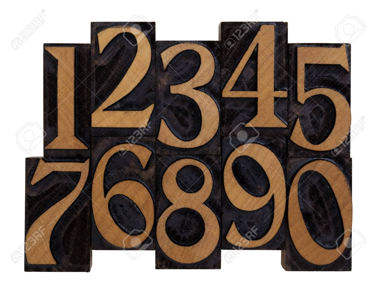 ten arabic numerals 0-9 in vintage wood letterpress blocks stained by black ink, flipped horizontally, isolated on white Stock Photo - 6790269