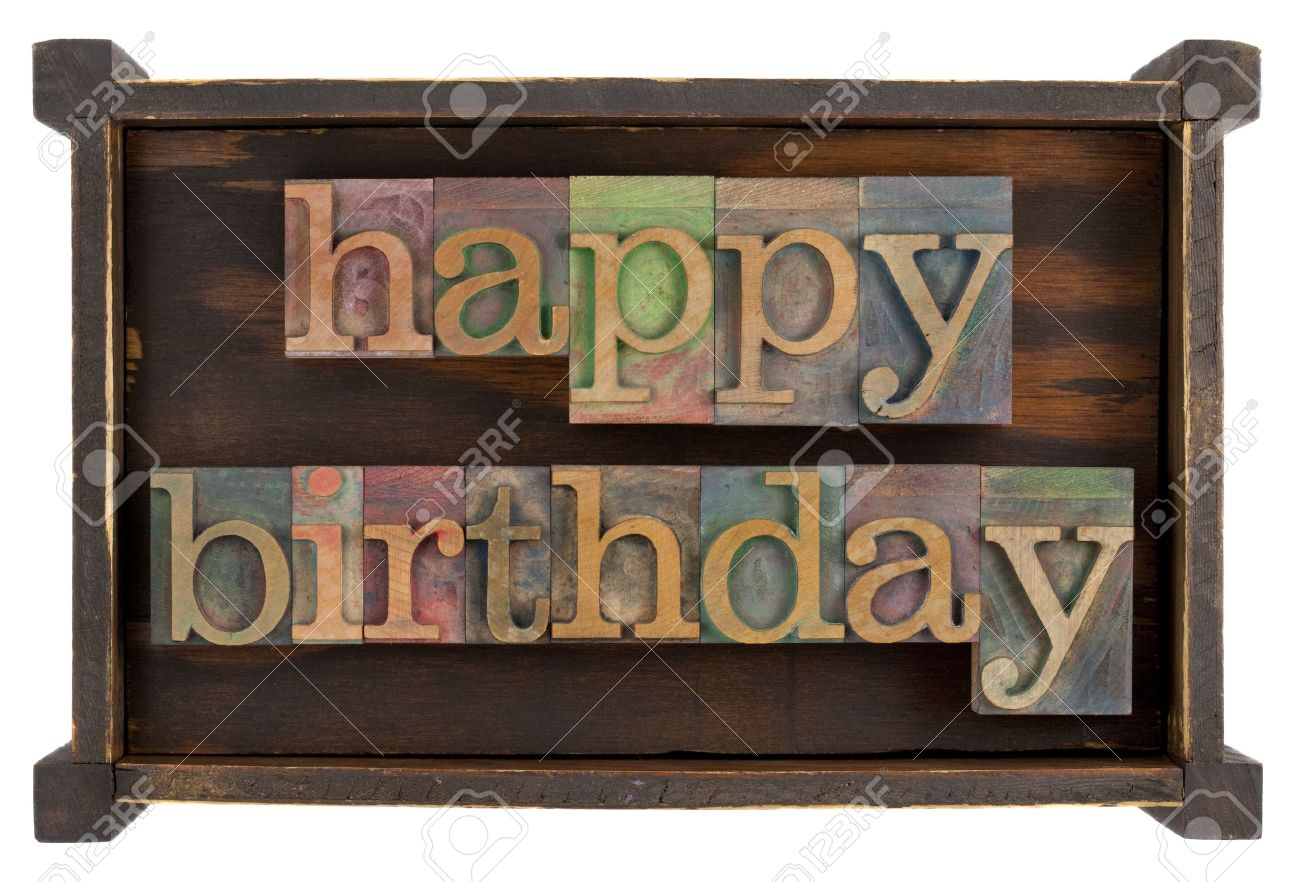 Happy Birthday In Vintage Lettepress Type Block Inside Rustic Wooden Box Isolated On White Stock