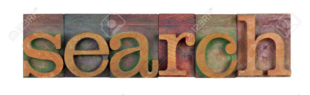 the word of search in vintage wooden letterpress type blocks, stained by color ink, isolated on white Stock Photo - 7224381