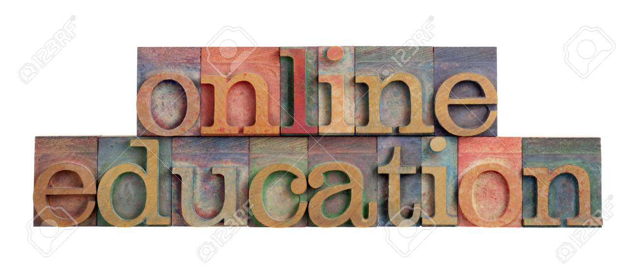 online education headline in vintage wooden letterpress type blocks, stained by color ink, isolated on white Stock Photo - 7368168