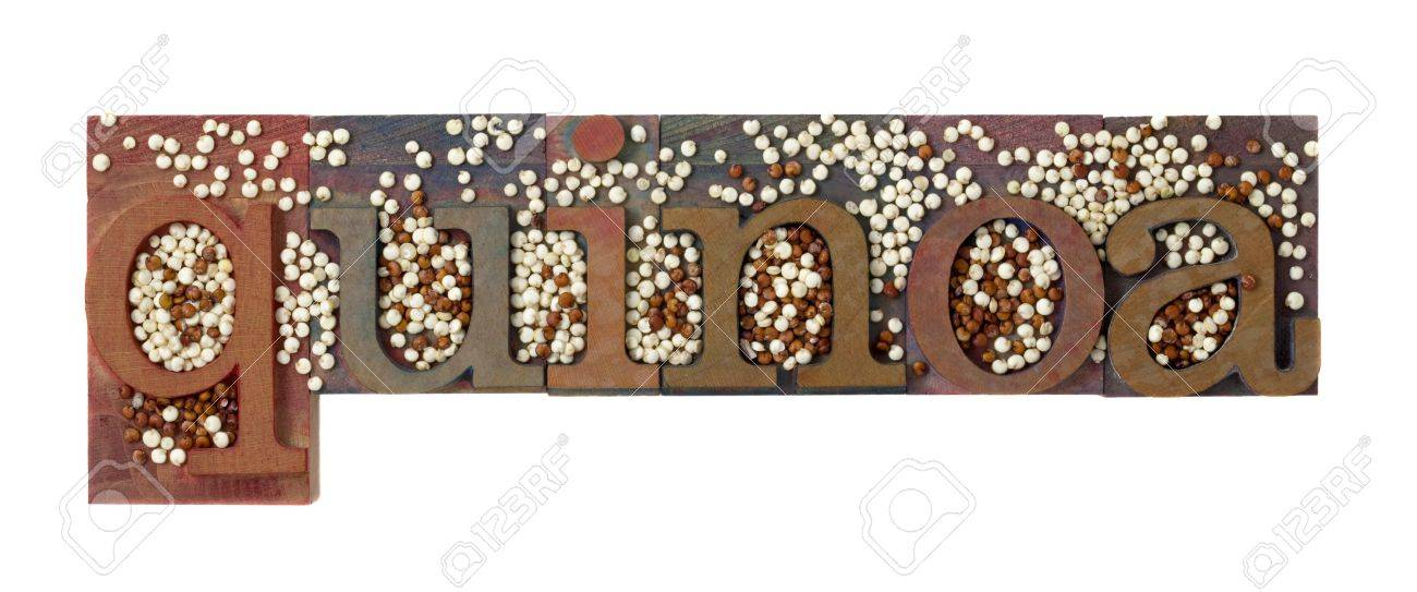 quinoa word in vintage letterpress printing blocks combined with white and red grain, isolated on white Stock Photo - 7459065