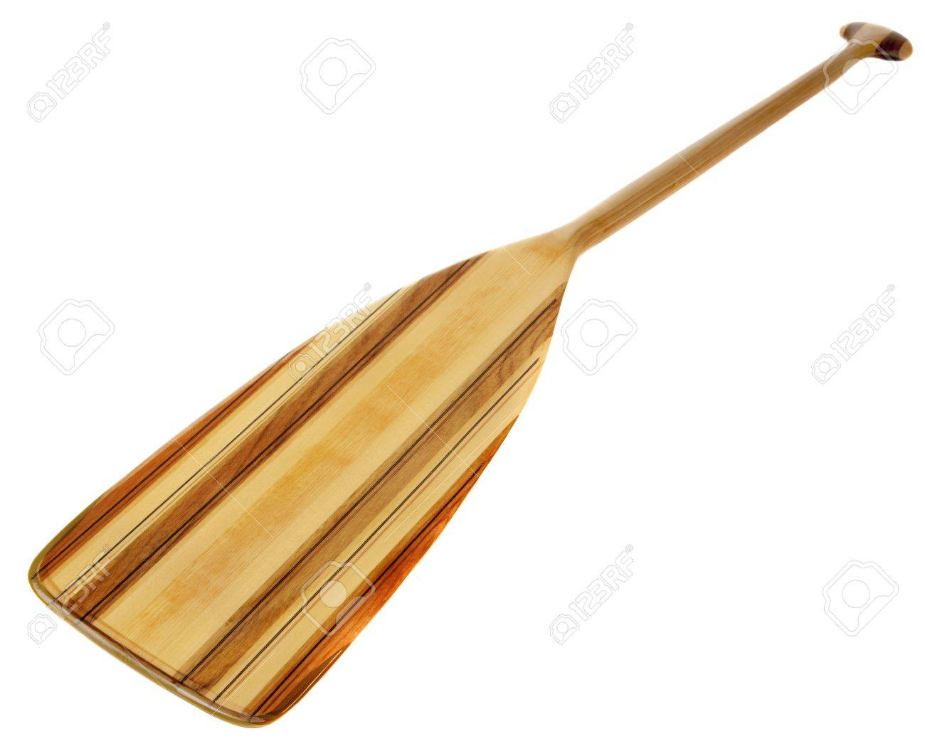wooden (basswood, butternut and red alder)) cruising canoe paddle with bent shaft and tip reinforced with fiberglass, isolated on white Stock Photo - 7765903