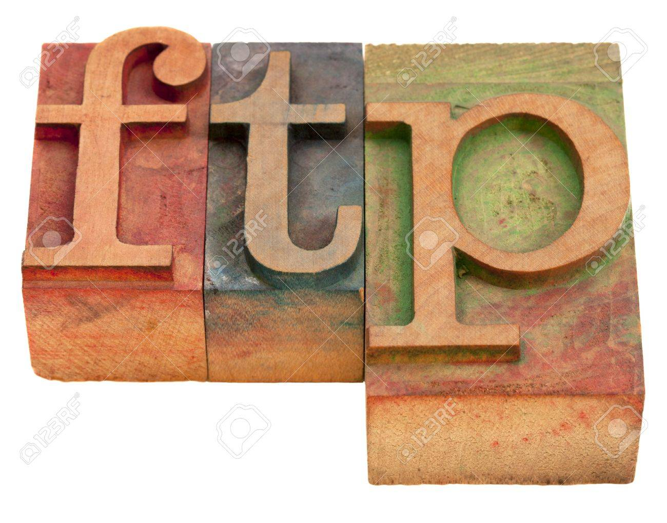 ftp (file transfer protocol) - word in vintage wooden letterpress printing blocks isolated on white Stock Photo - 8323672