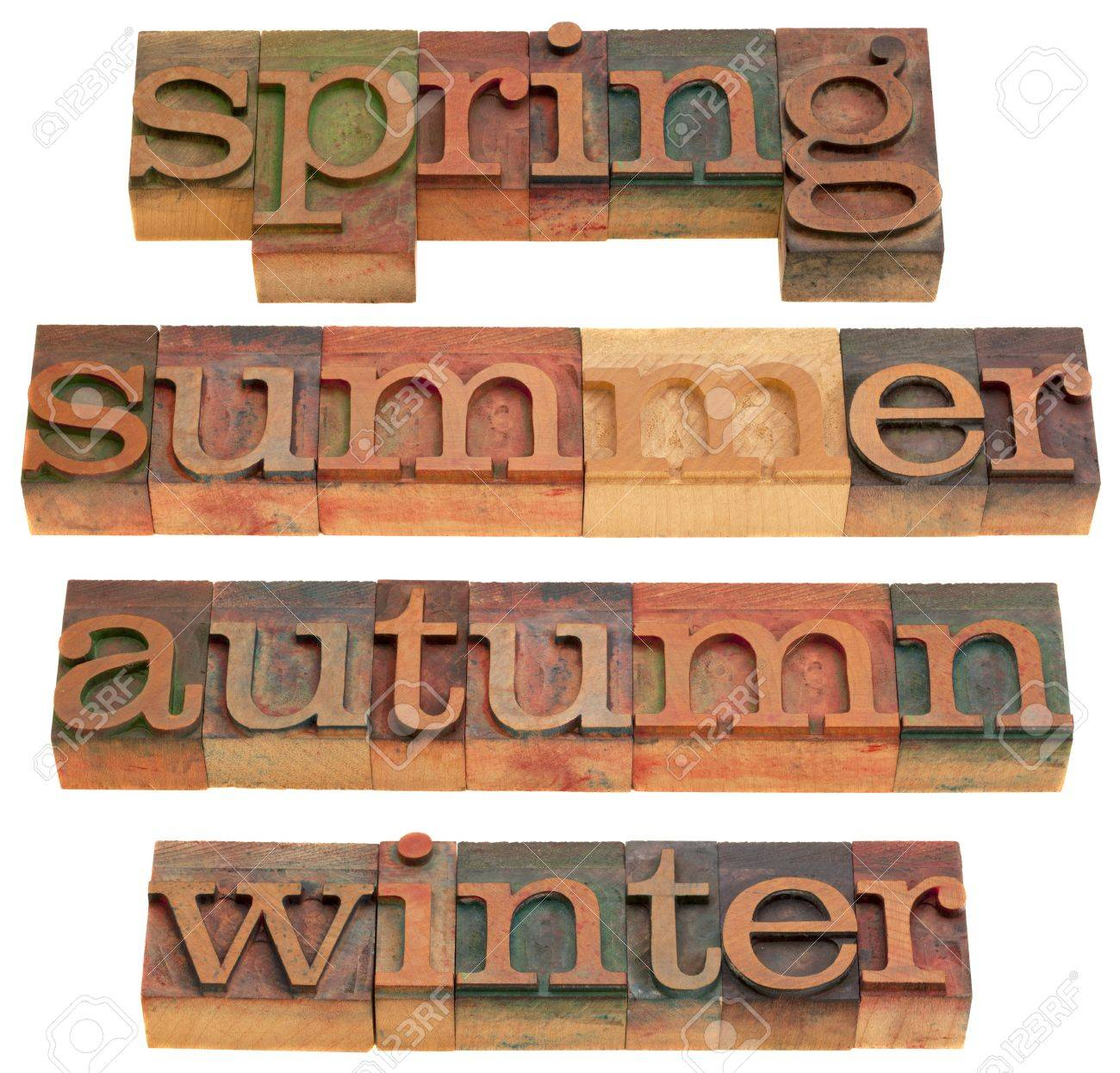 four seasons (spring, summer, autumn and winter) in vintage wooden letterpress printing blocks isolated on white Stock Photo - 8323652