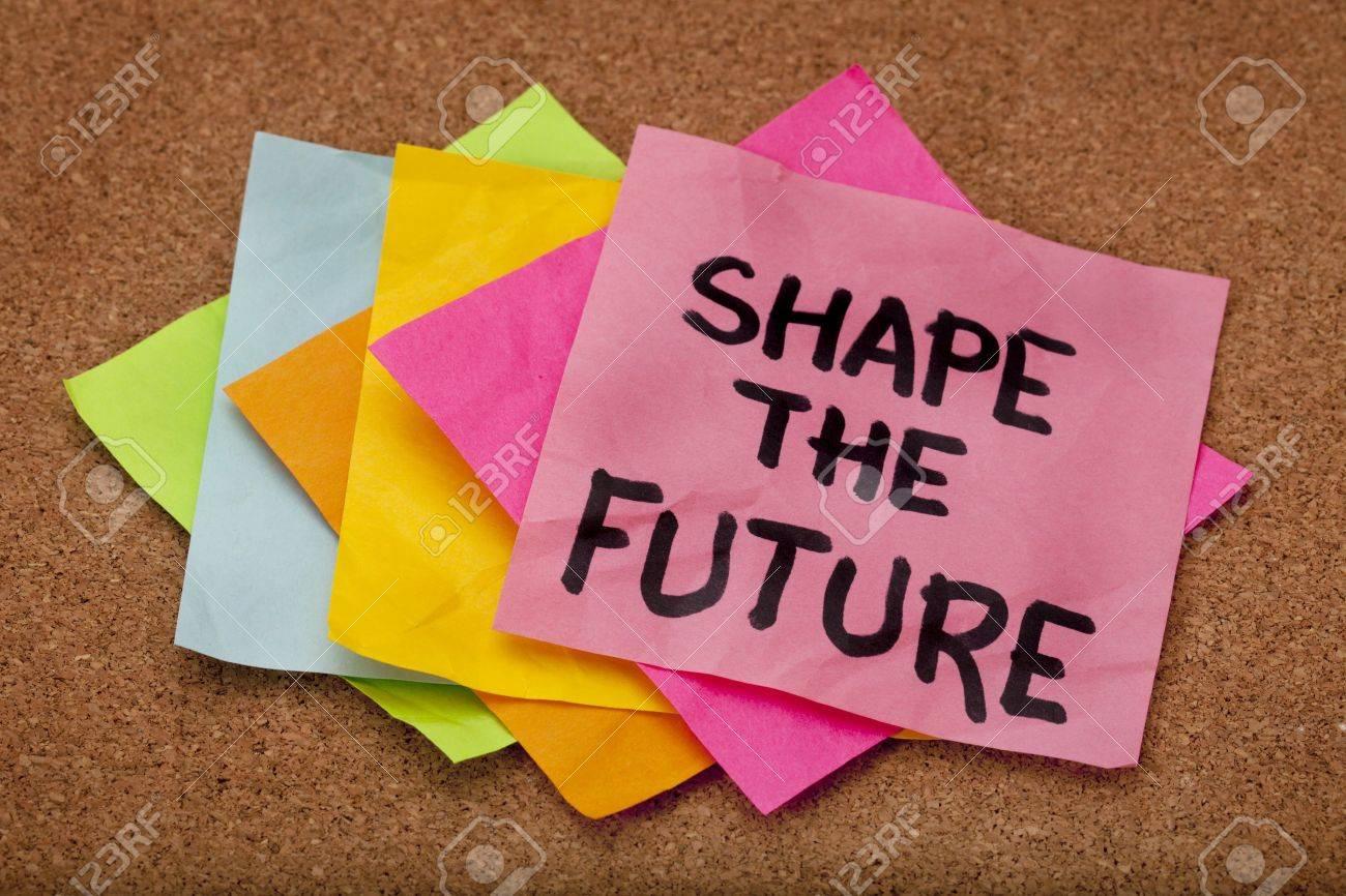 shape the future, motivational slogan, colorful sticky notes on cork bulletin board Stock Photo - 8533302