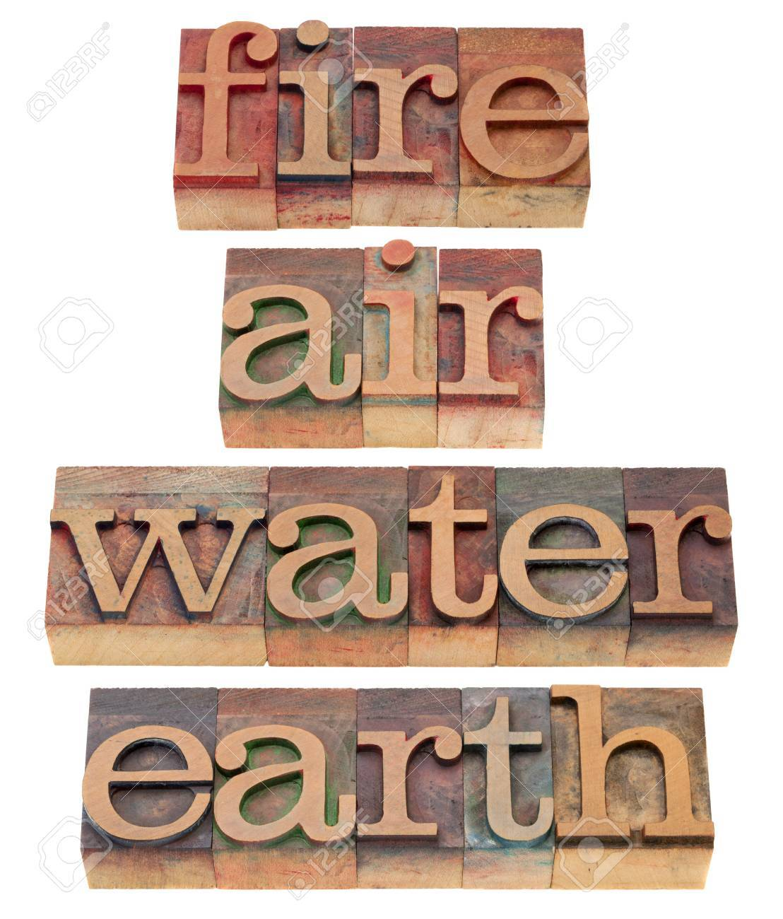 four classical elements of Greek philosophy - fire, air, water and earth - words in vintage wooden letterpress printing blocks, isolated on white Stock Photo - 8712701