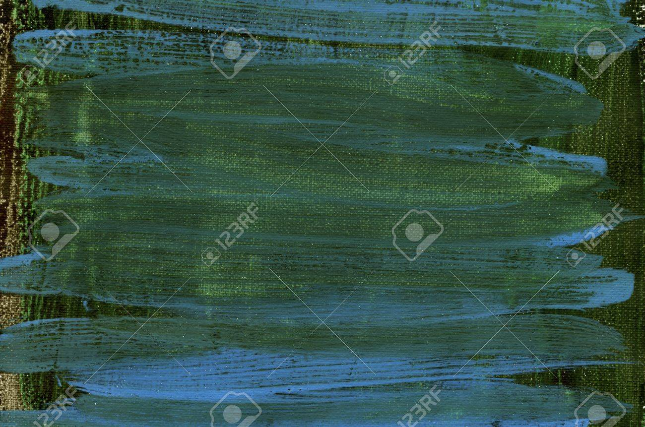 dark green and blue watercolor painted abstract on white artist canvas, self made by photographer Stock Photo - 8797541