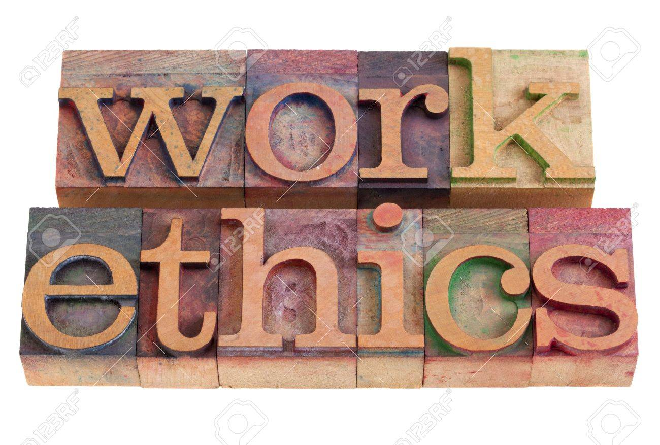 work ethics concept -  words  in vintage wooden letterpress printing blocks, stained by color inks, isolated on white Stock Photo - 8908219