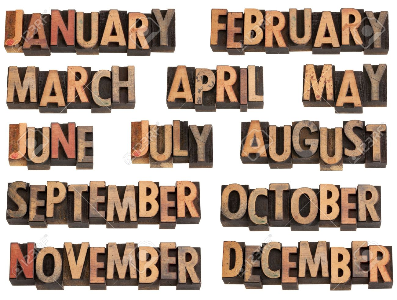 12 months of the year from January to December in vintage wood