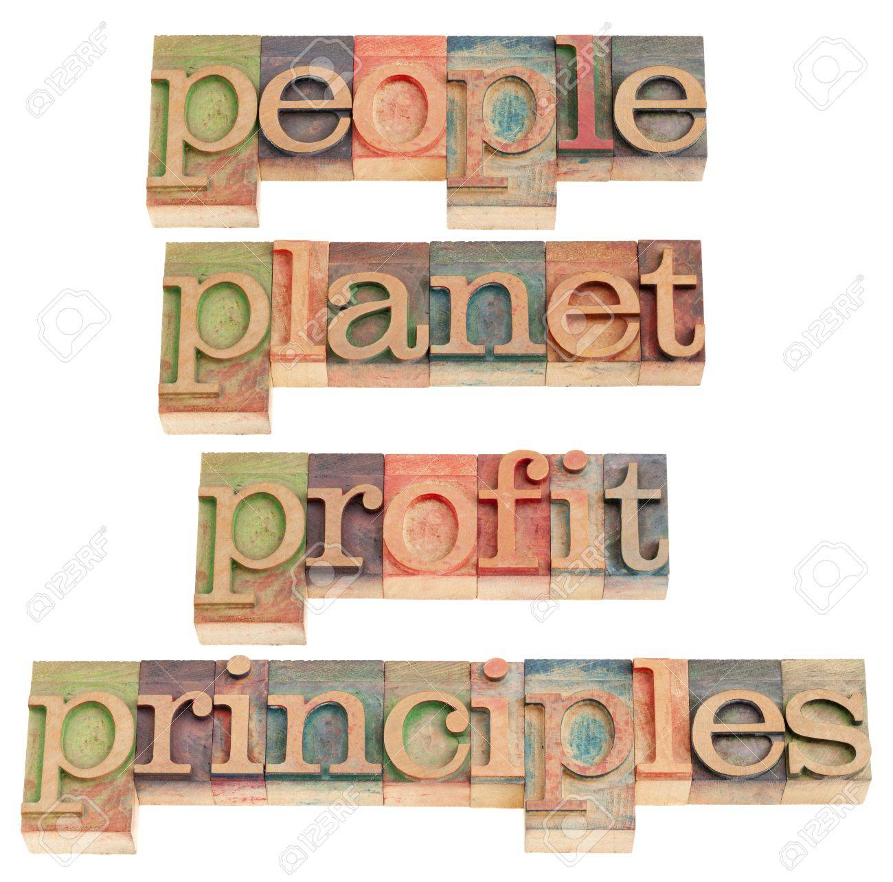 sustainable business concept - people, planet, profit, principles words in vintage wood letterpress printing blocks, isolated on white Stock Photo - 9063435