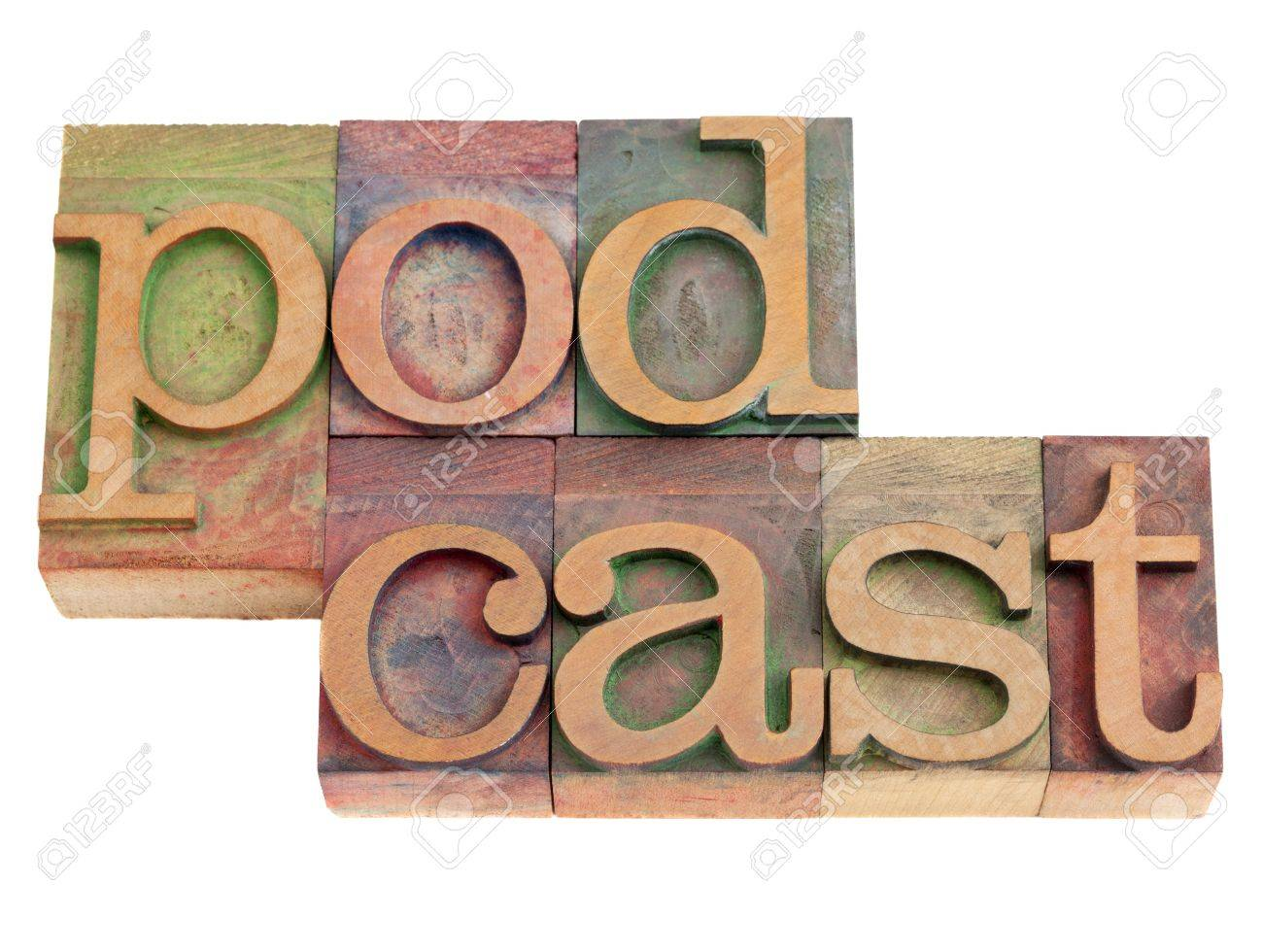 podcast word in vintage wood letterpress printing blocks, isolated on white Stock Photo - 9063433