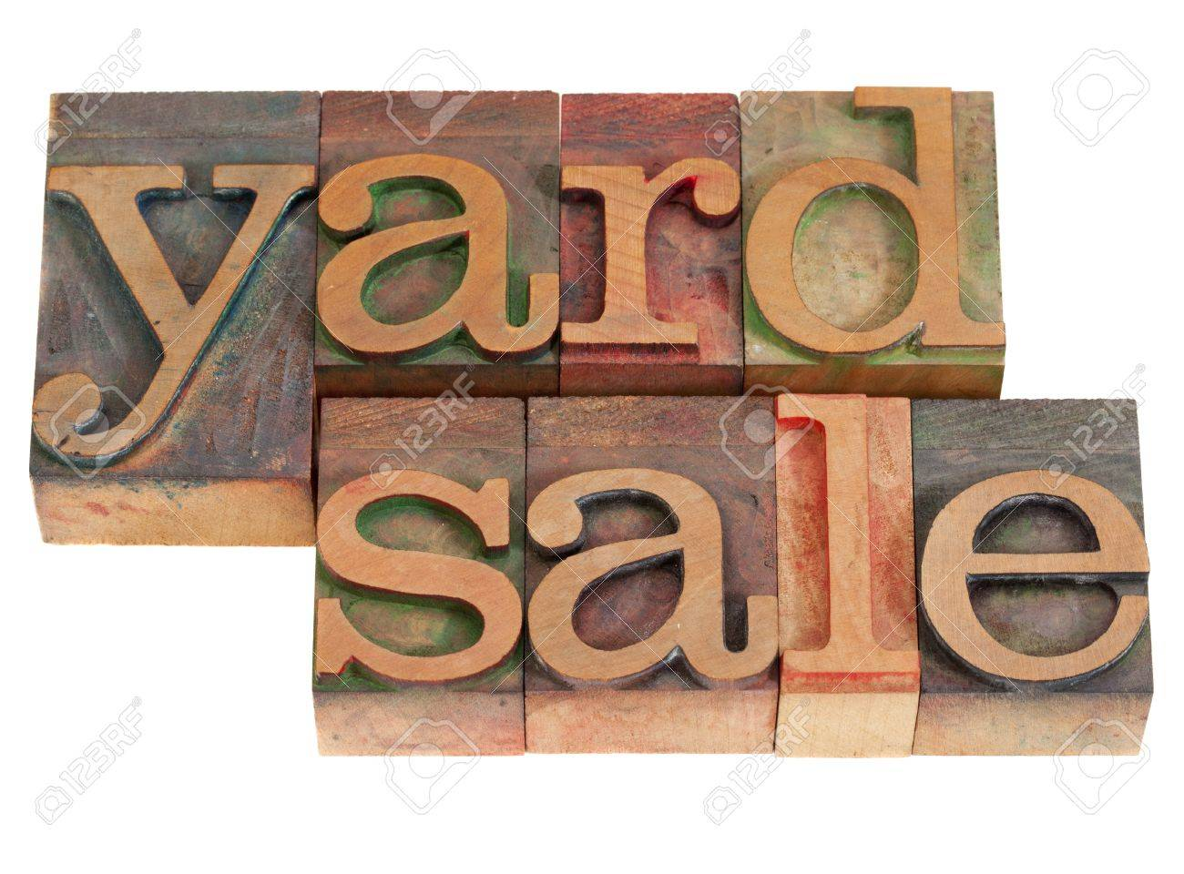 yard sale words in vintage wood letterpress printing blocks, stained by color inks, isolated on white Stock Photo - 9063448