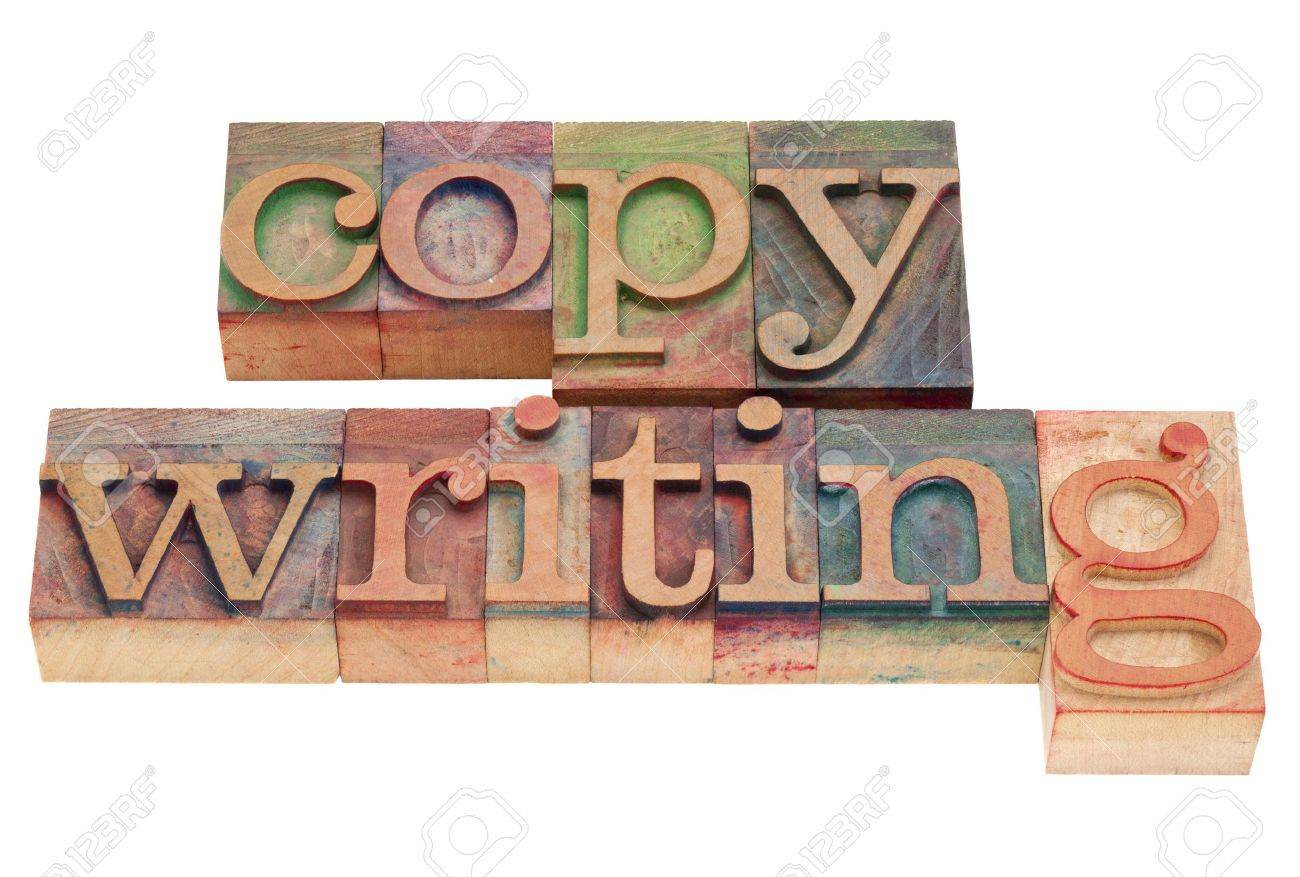copywriting word in vintage wood letterpress printing blocks, isolated on white Stock Photo - 9321334