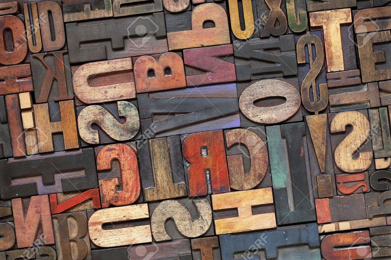 Color art tipografia - Stock Photo Antique Letterpress Printing Blocks With Color Ink Patina Random Collection Of Different Size And Style