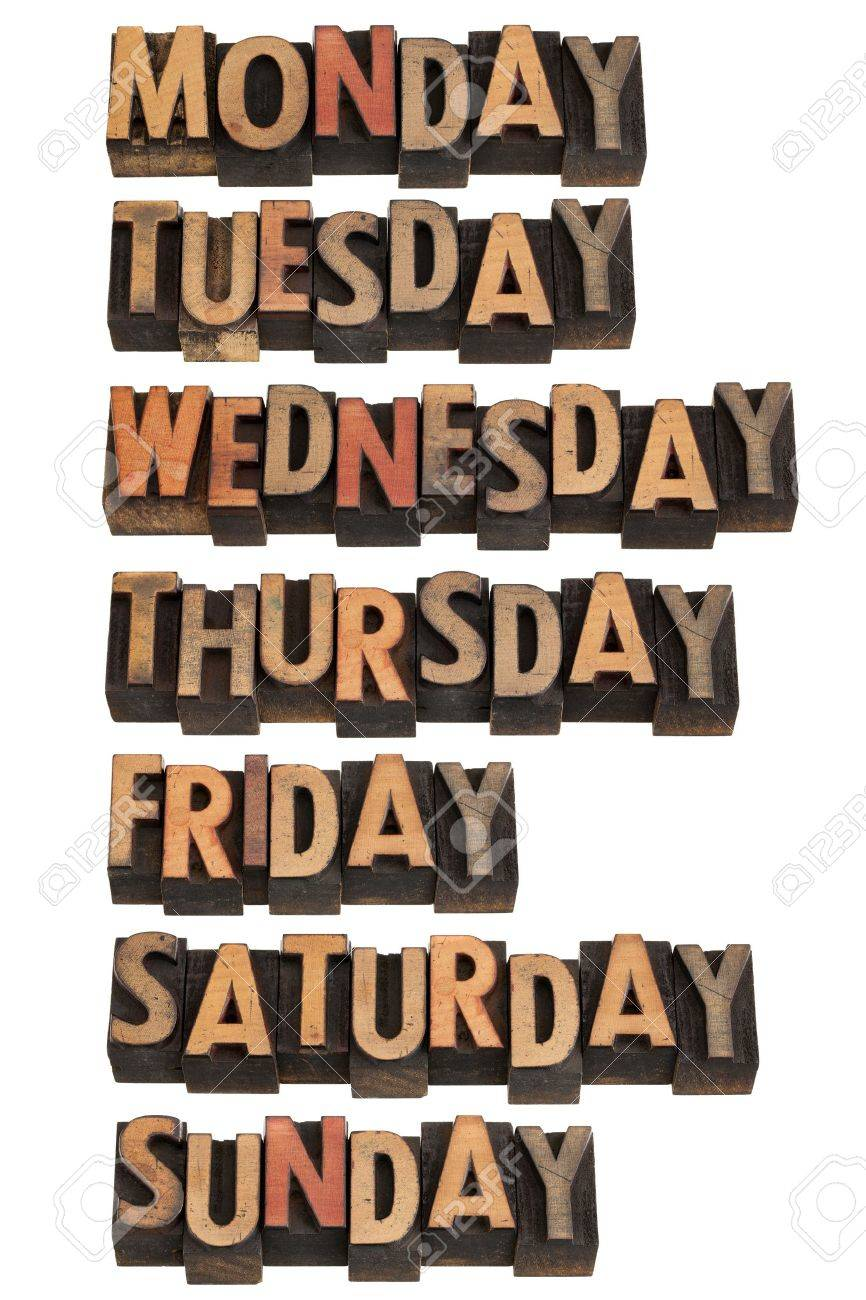 7 days of week from Monday to Sunday in vintage wood letterpress printing blocks, isolated on white Stock Photo - 9739576