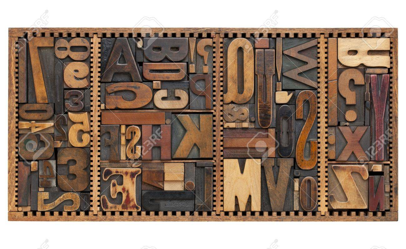 vintage letterpress printing blocks abstract with variety of  letters, numbers, punctuation signs in old box Stock Photo - 9834208