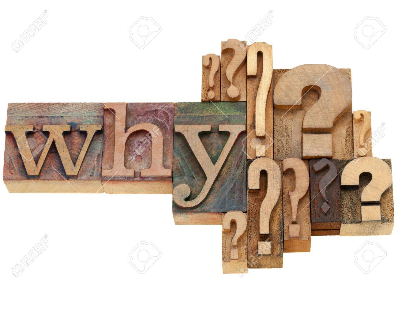 why question with multiple question marks - isolated vintage wood letterpress printing blocks - 9968810
