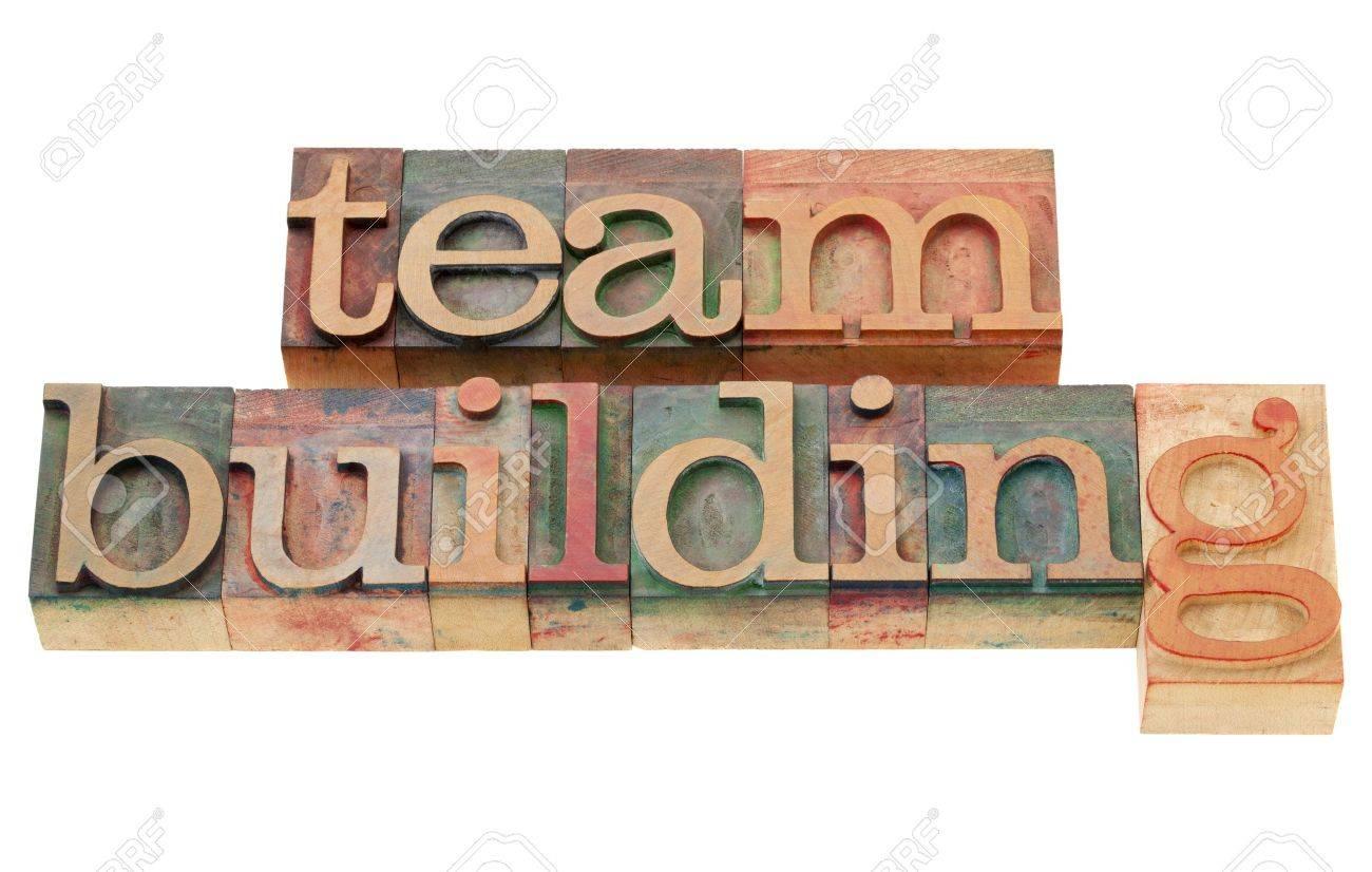 team building - isolated words in vintage wood letterpress printing blocks Stock Photo - 10051538