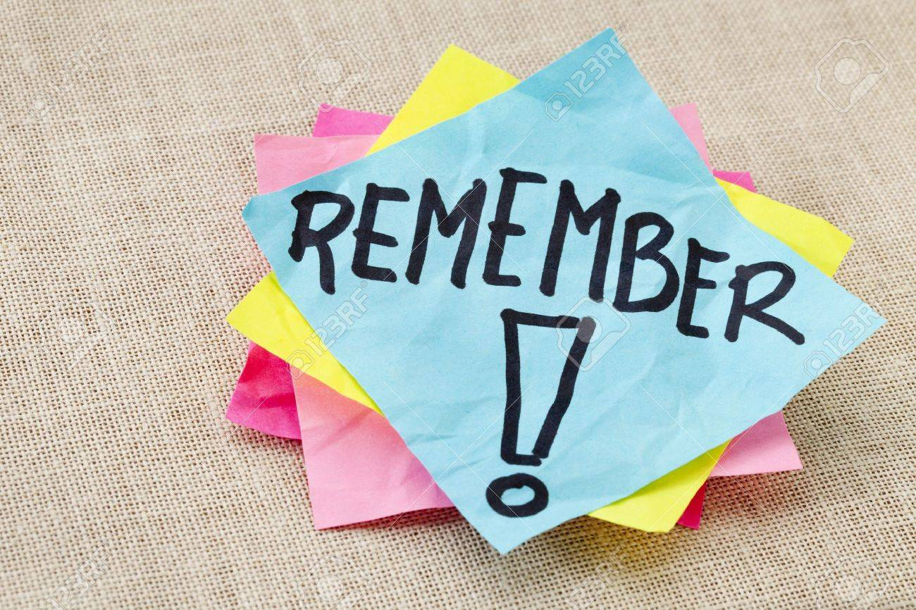 Reminder Concept Remember Word Handwritten On Blue Sticky Note