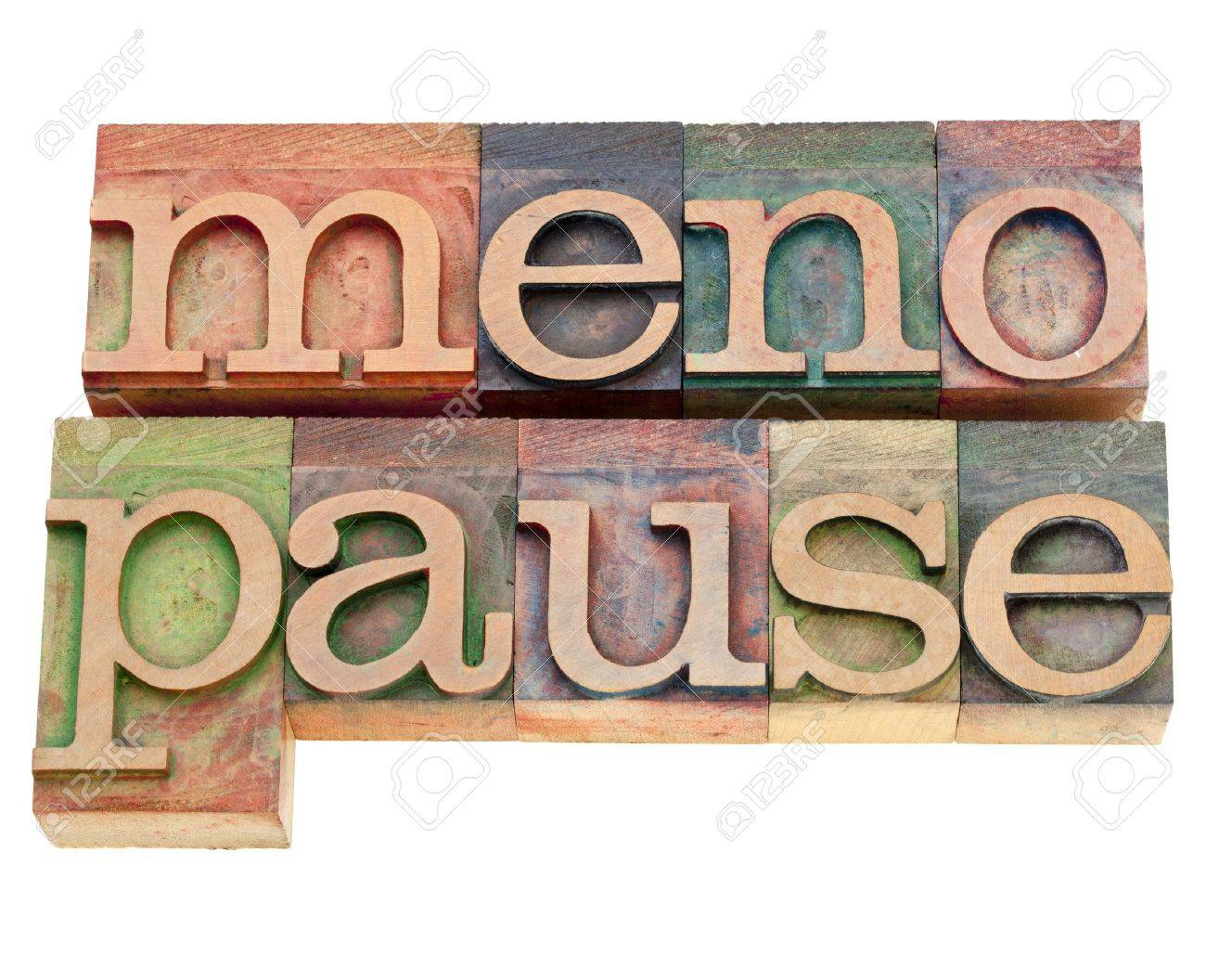 menopause - isolated word in vintage wood letterpress printing blocks stained by color inks Stock Photo - 10493246