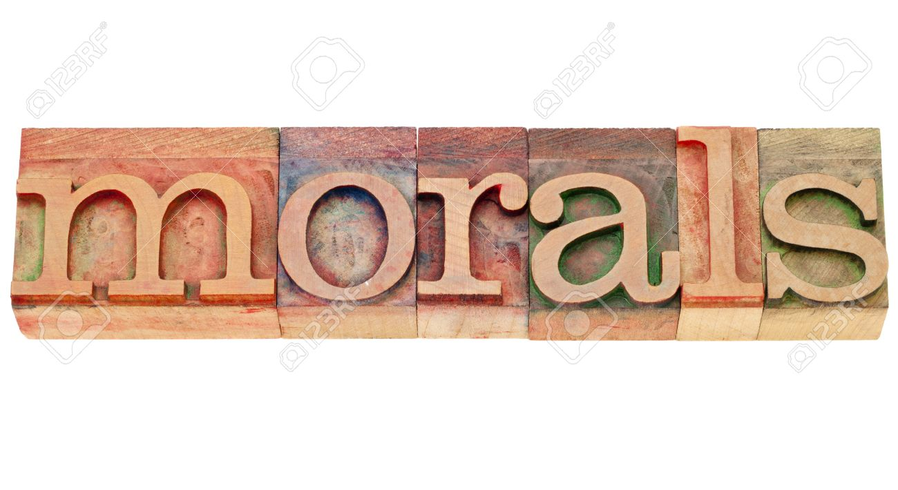 ethics concept - morals - isolated word in vintage wood letterpress type Stock Photo - 10528960