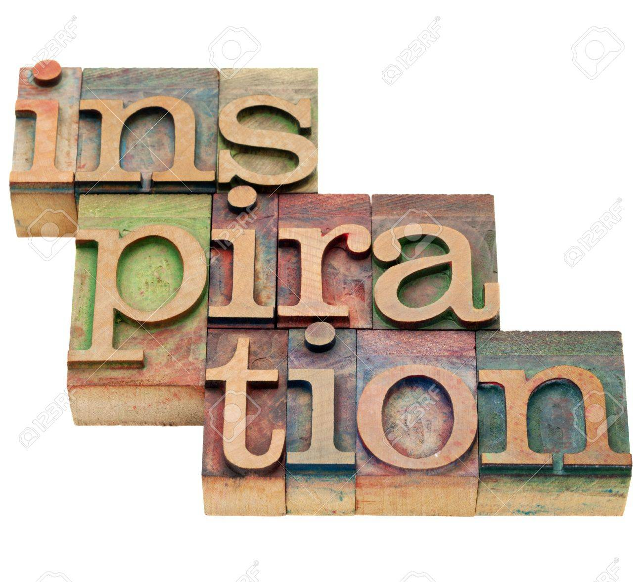 inspiration word - isolated abstract in vintage wood letterpress printing blocks Stock Photo - 11062000