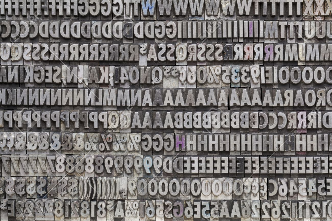 Background of letters numbers and punctuation symbols in old background of letters numbers and punctuation symbols in old grunge metal movable typeset stock photo biocorpaavc