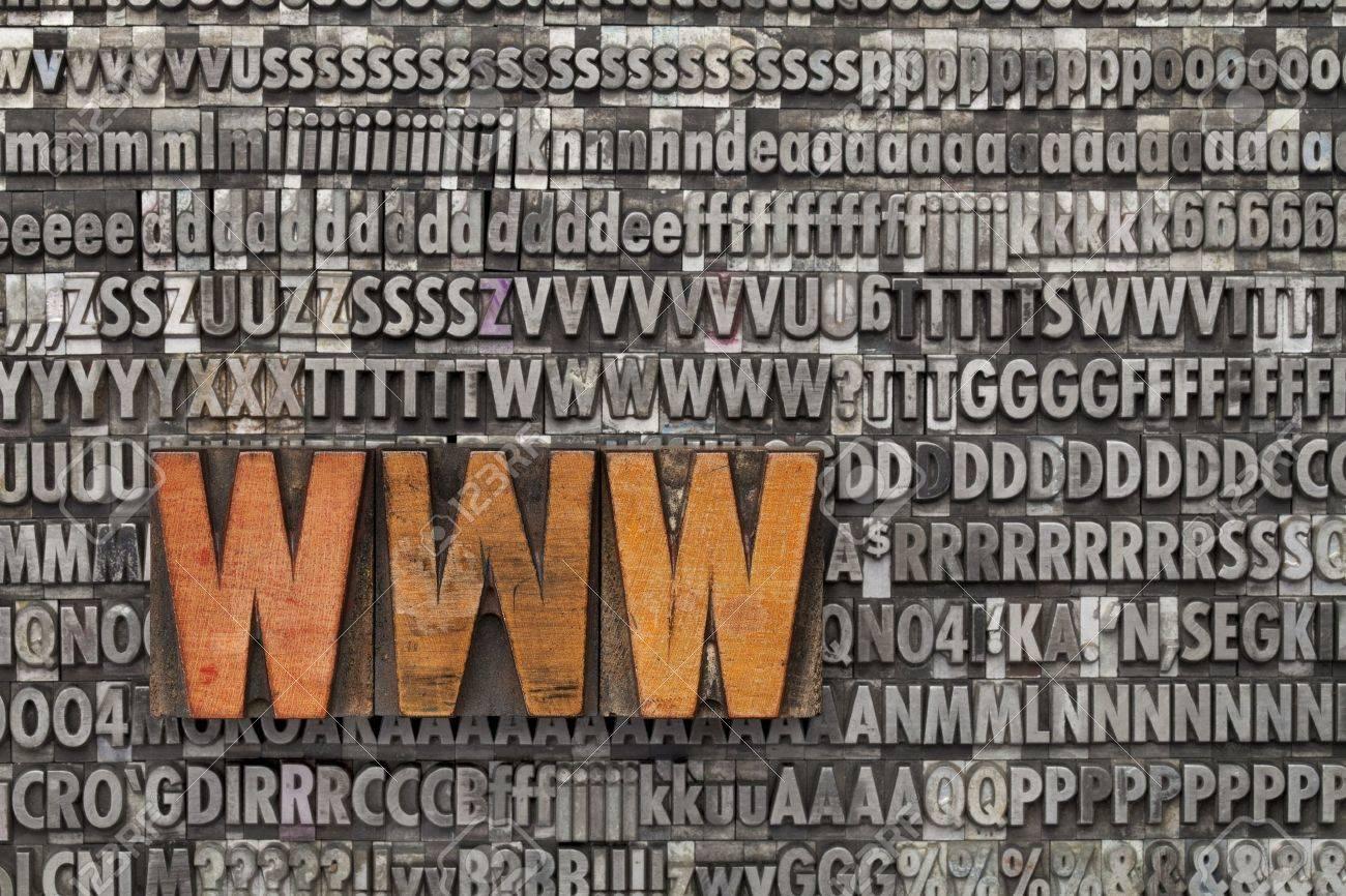 www acronym - internet concept  - text in vintage wood letterpress printing blocks against grunge metal typeset Stock Photo - 11577605