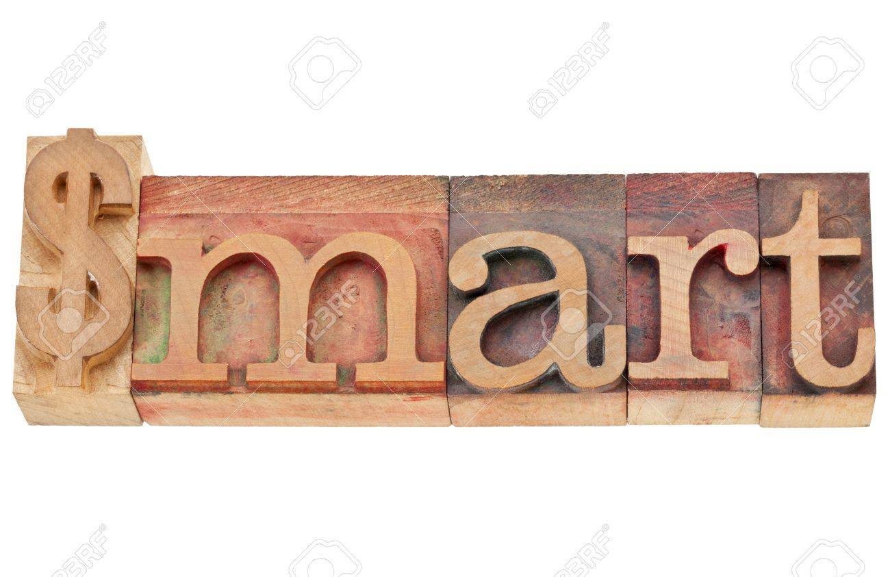 dollar smart - financial concept - isolated word in vintage wood letterpress type, stained by color inks Stock Photo - 11788265