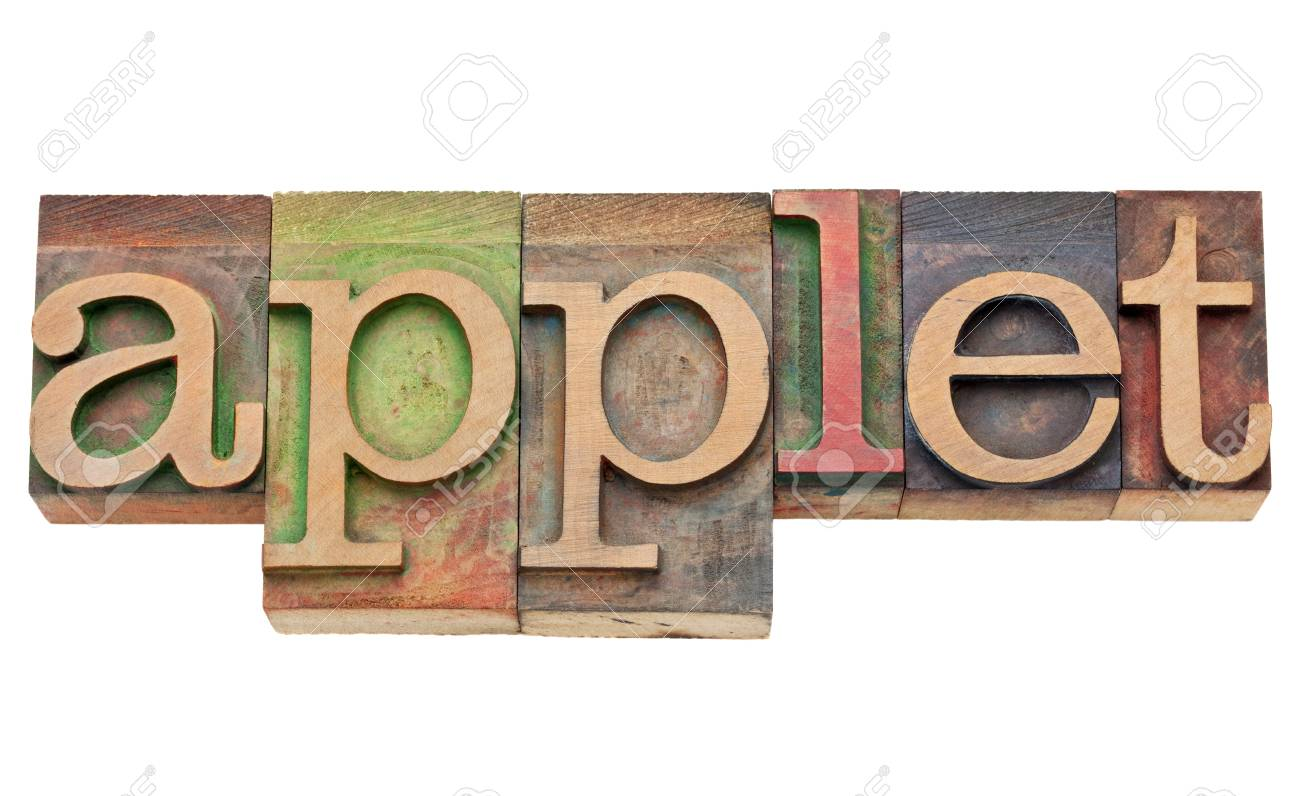 applet - software concept - isolated text in vintage wood letterpress printing blocks, stained by color inks Stock Photo - 11881303