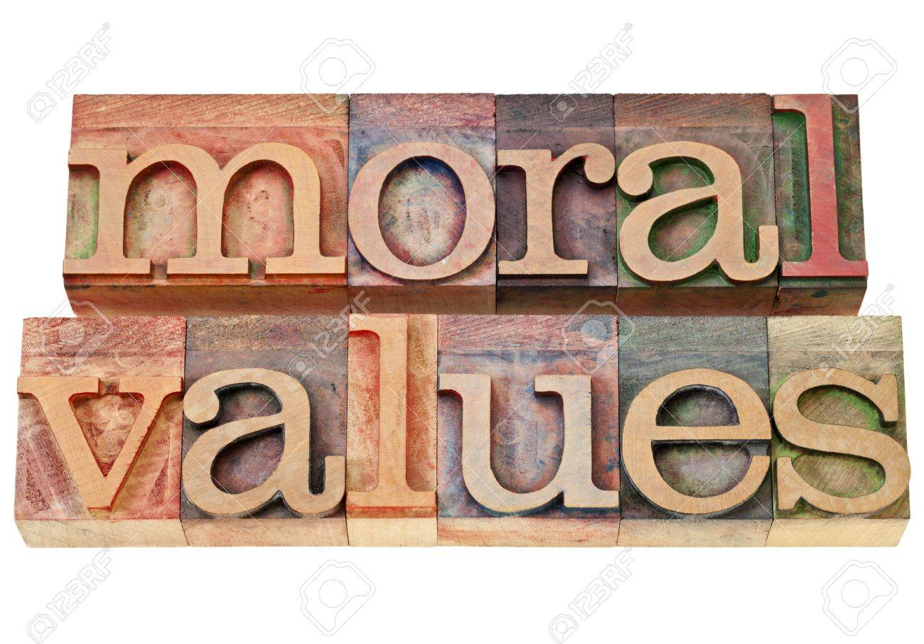 moral values - ethics concept - isolated phrase in  vintage letterpress  wood type Stock Photo - 13046636