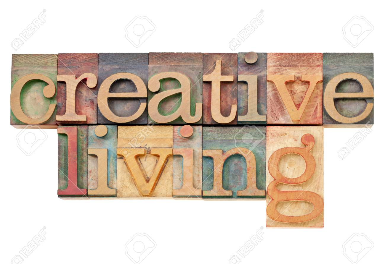 creative living -  isolated text  in vintage letterpress  wood type Stock Photo - 13104958