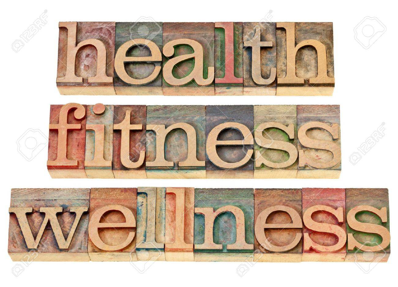 health, fitness, wellness - healthy lifestyle concept - isolated text in vintage letterpress wood type Stock Photo - 13104963